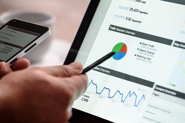 Hand zeigt mit einem Stift auf eine Google Analytics Auswertung am Laptop und hält in der anderen Hand ein iPhone, Content Marketing