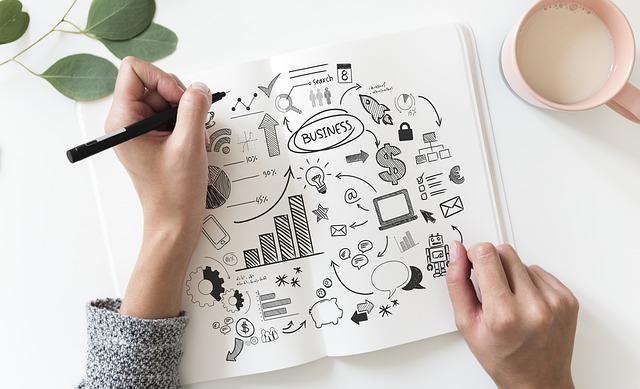 Hand zeichnet auf einem Blatt Papier einen Businessplan, daneben steht eine Tasse mit Getränk, Content Marketing