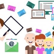 E-Mail Marketing Grafik, Bildschirme von Laptop, PC, Mobile Devices und stilisierte Menschen, die lachen.