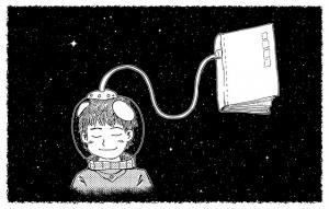 Astronaut träumt im Weltall, sein Helm ist mit einem Kabel zu einem Buch verbunden