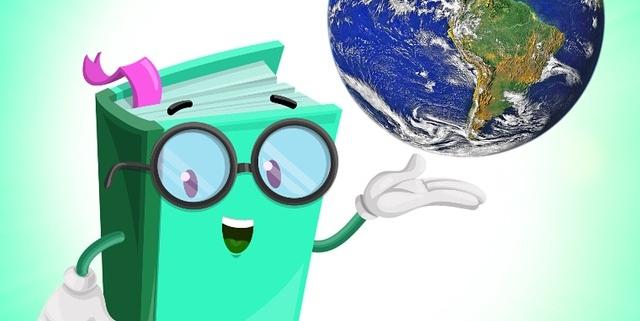 Figur als Buch mit Brille und Globus