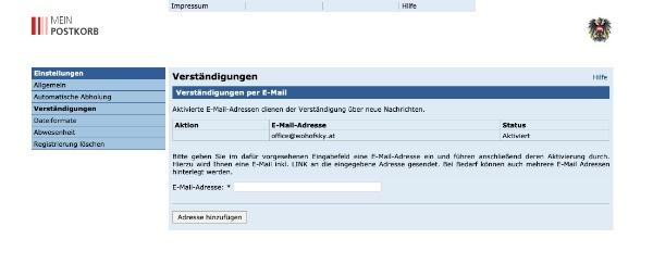 Postkorb Verständigung einrichten 1 - ACHTUNG – e-Zustellung PFLICHT für jedes KMU!