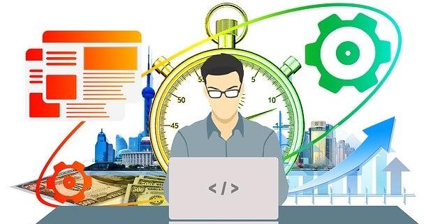 Mann vor Laptop im Hintergrund Stoppuhr und Skyline, Wachstumsgrafik und Dateiordner Symbole