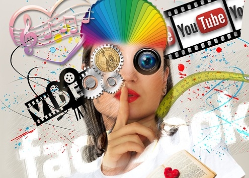 Interaktionen Online Medien, Gesicht , Facebook, YouTube