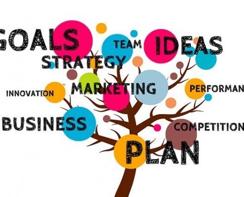 Projektmanagement Diagramm als Baumgrafik mit Goals, Business, Plan, Marketing etc.