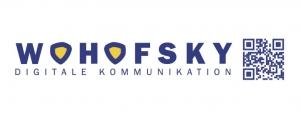 Firmenschild Wohofsky Digitale Kommunikation mit QR Code